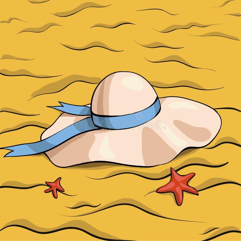 Chapéu e areia ilustração stock