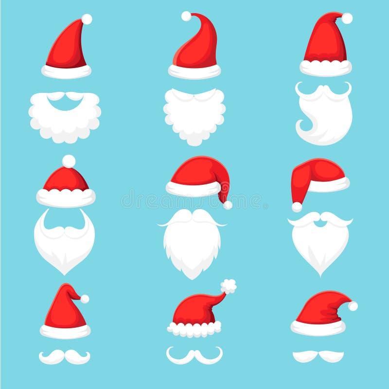 Chapéu e barba de Santa Claus Chapéus mornos vermelhos tradicionais com pele, barbas brancas do Natal com desenhos animados dos b ilustração stock