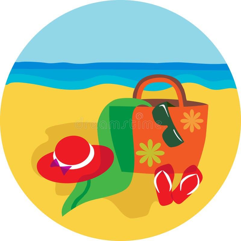 Chapéu e bascket do verão no fundo da praia ilustração stock