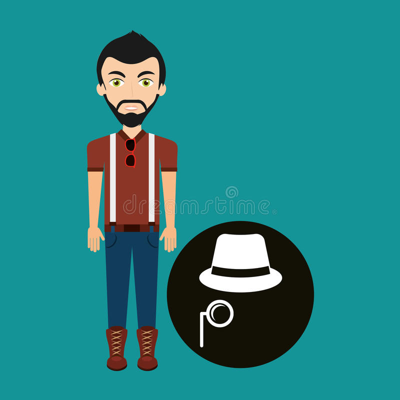 Chapéu e bigode novos do fedora do homem do moderno ilustração stock