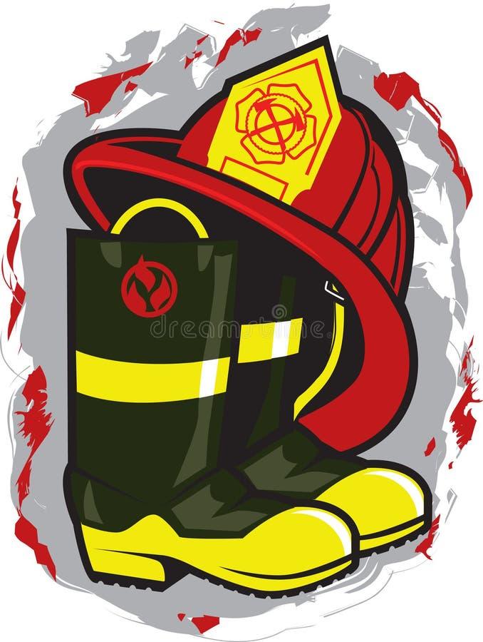 Chapéu e carregadores do bombeiro ilustração stock