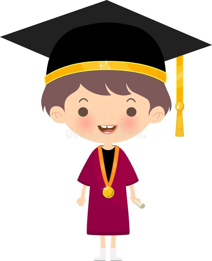 Chapéu e equipamento vestindo da graduação do estudante feliz ilustração do vetor