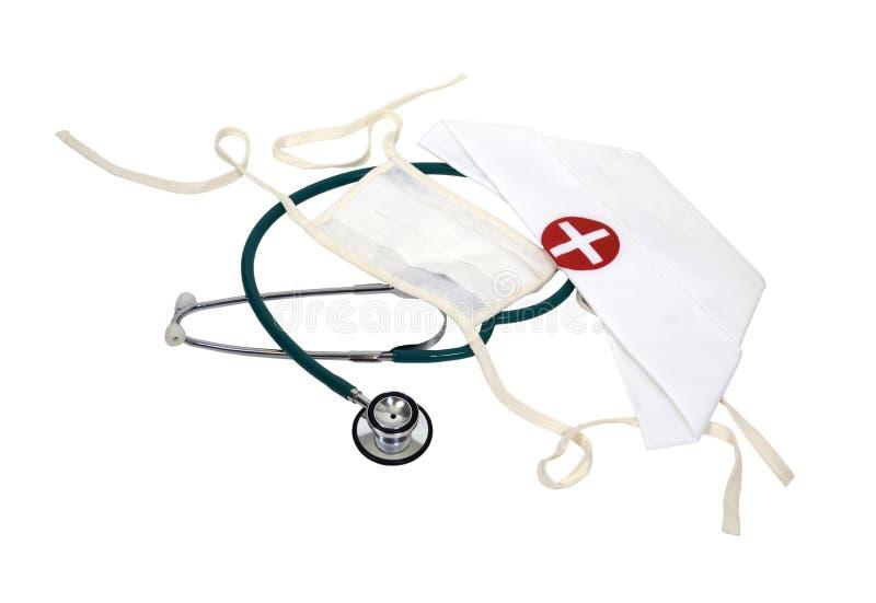 Chapéu e máscara da enfermeira fotografia de stock