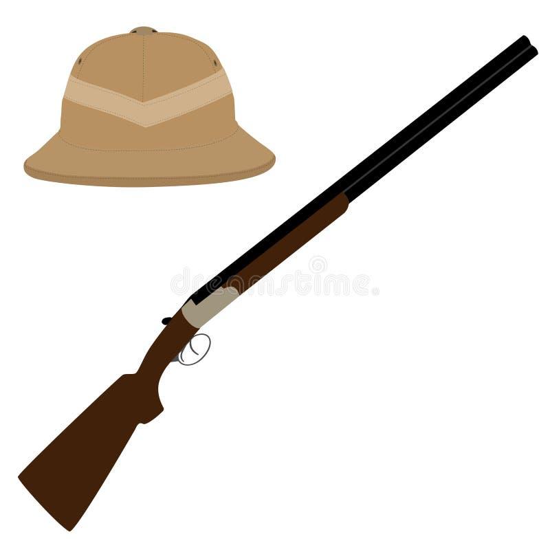 Chapéu e rifle do safari ilustração do vetor