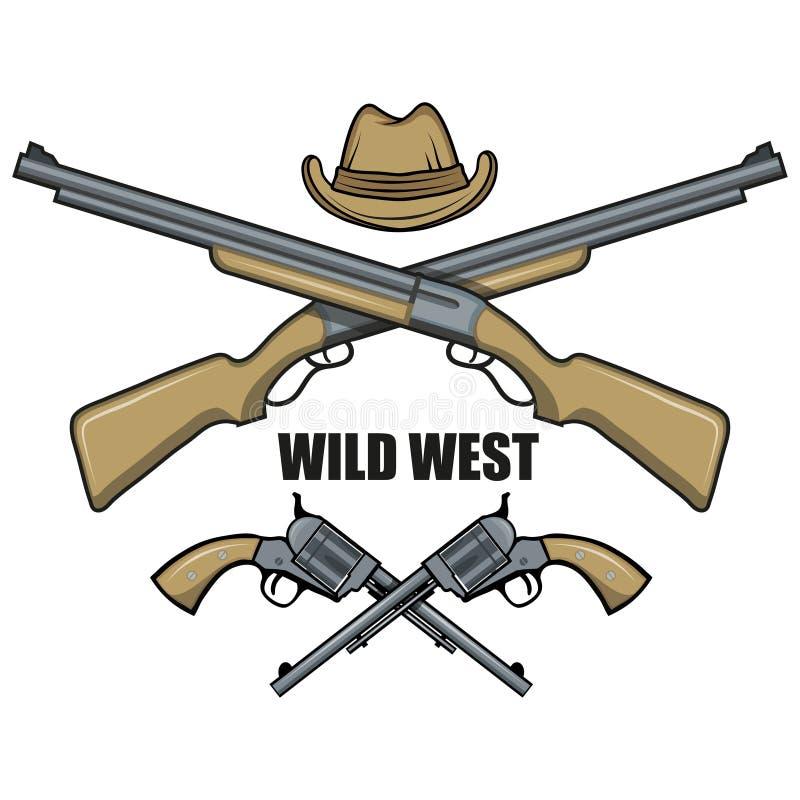 Chapéu e vaqueiro das armas Imagem dos desenhos animados do oeste selvagem ilustração stock