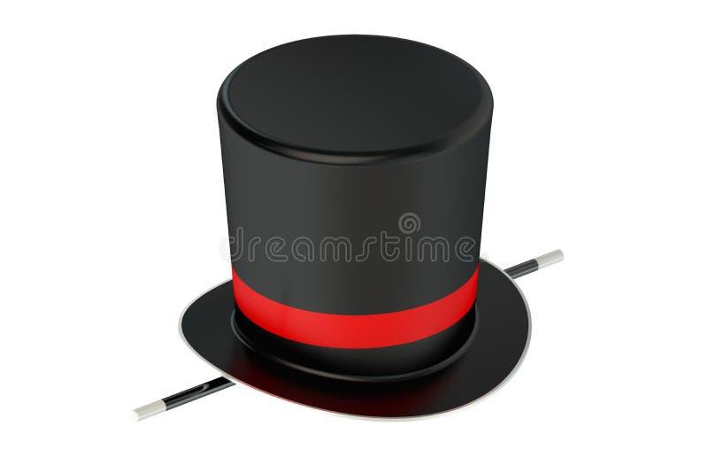 Chapéu e varinha do mágico ilustração stock