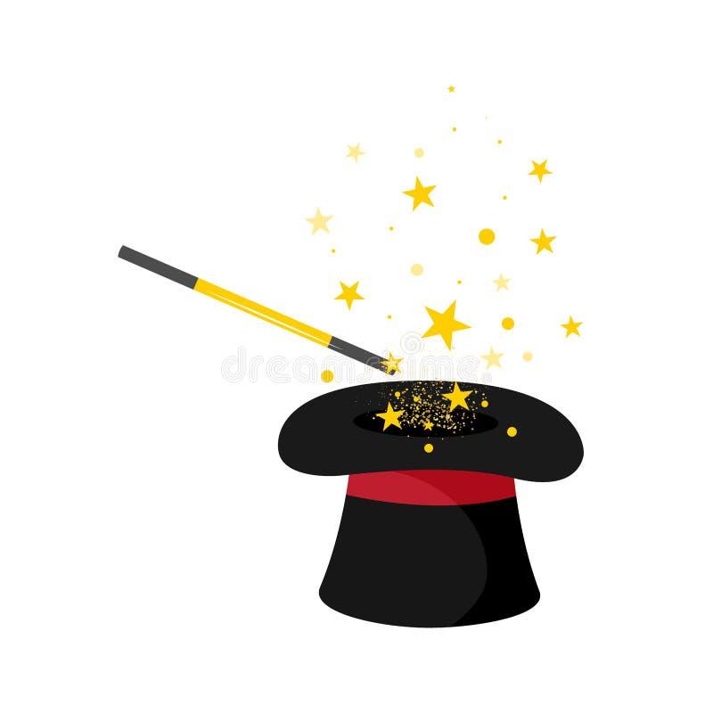 Chapéu e varinha do mágico com estrelas ilustração stock