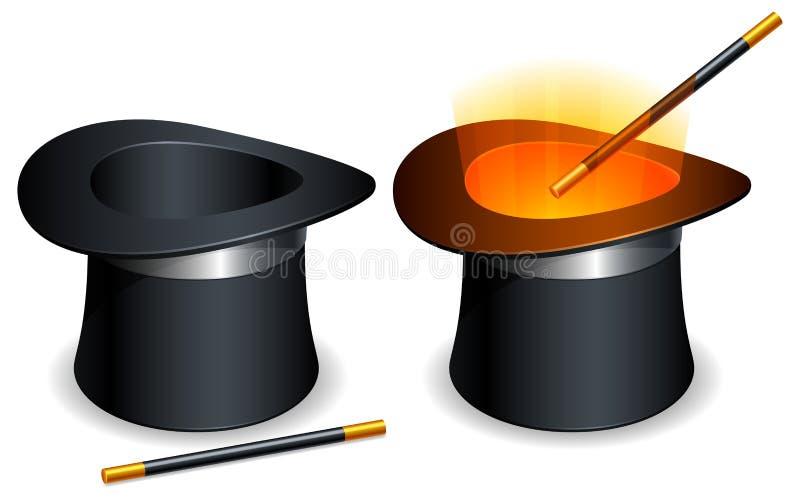 Chapéu e varinha mágicos. ilustração do vetor