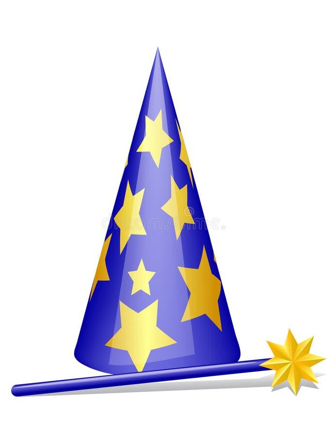 Chapéu e varinha mágicos ilustração do vetor