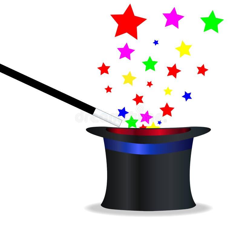 Chapéu e varinha mágicos ilustração stock