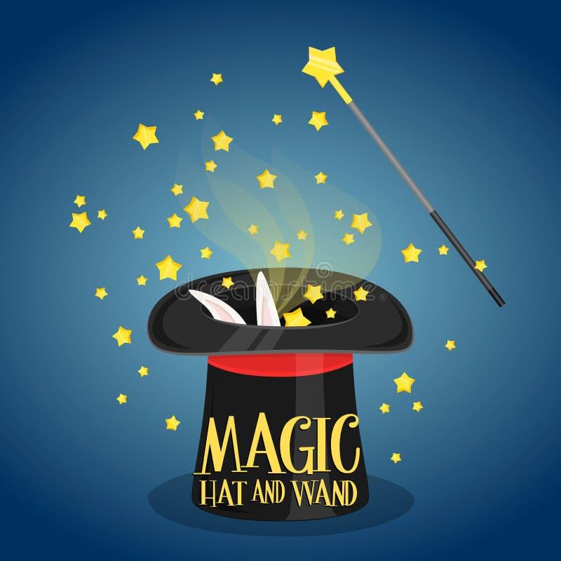 Chapéu e varinha mágicos com sparkles ilustração do vetor