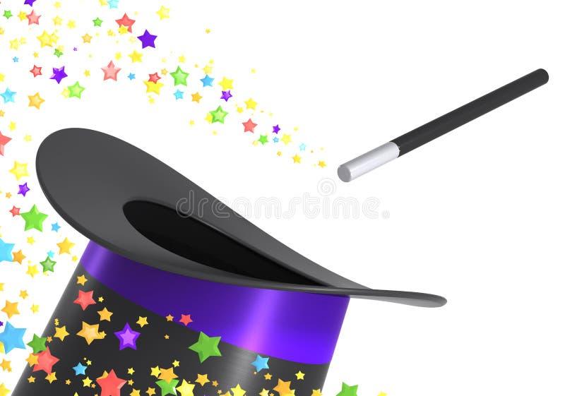 Chapéu e varinha mágicos com trajeto de grampeamento ilustração do vetor