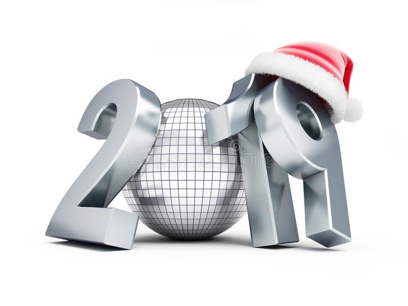 Chapéu 2019 em uma ilustração branca do fundo 3D, de Santa do ano novo da bola do disco rendição 3D ilustração royalty free