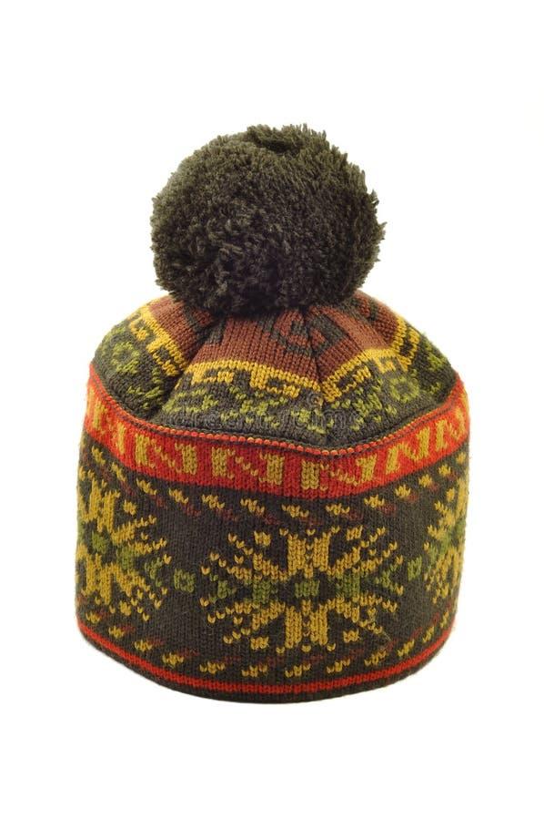 Chapéu feito malha inverno foto de stock