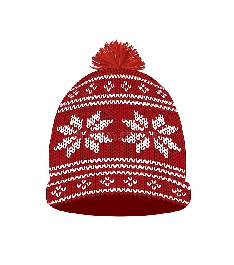 Chapéu feito malha vermelho do inverno ilustração do vetor