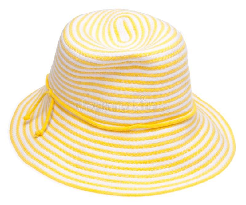 Chapéu flexível amarelo da praia foto de stock