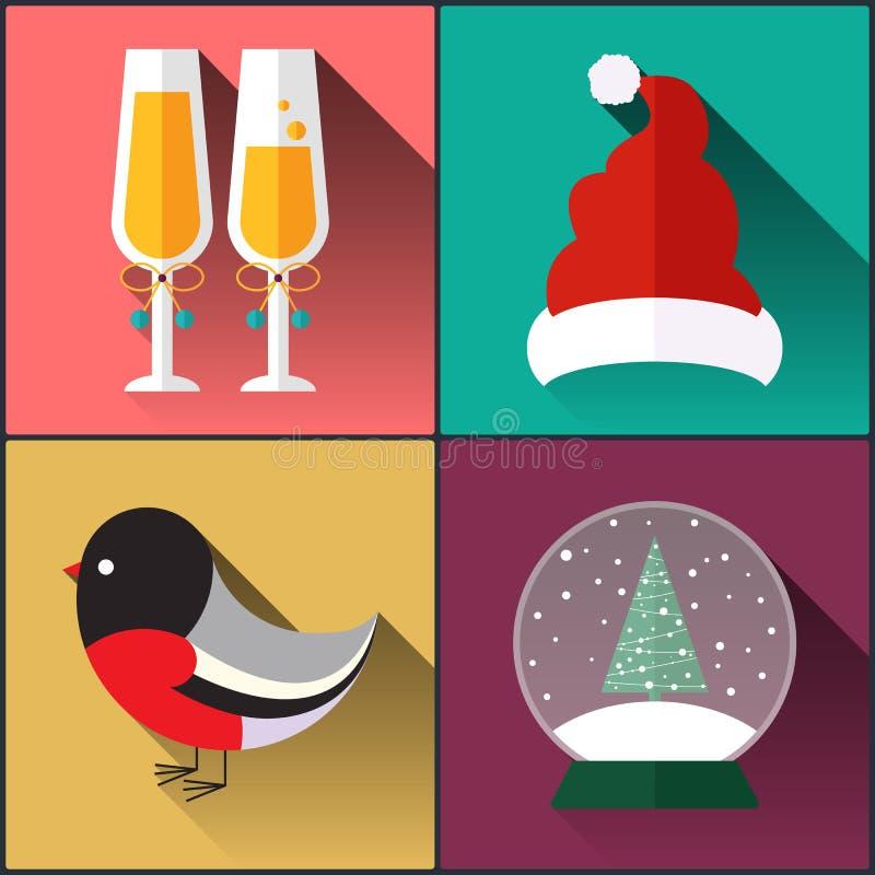 Chapéu incluído bloco de Papai Noel do ícone do ano novo, um vidro do vinho, dom-fafe e bola de neve ilustração do vetor
