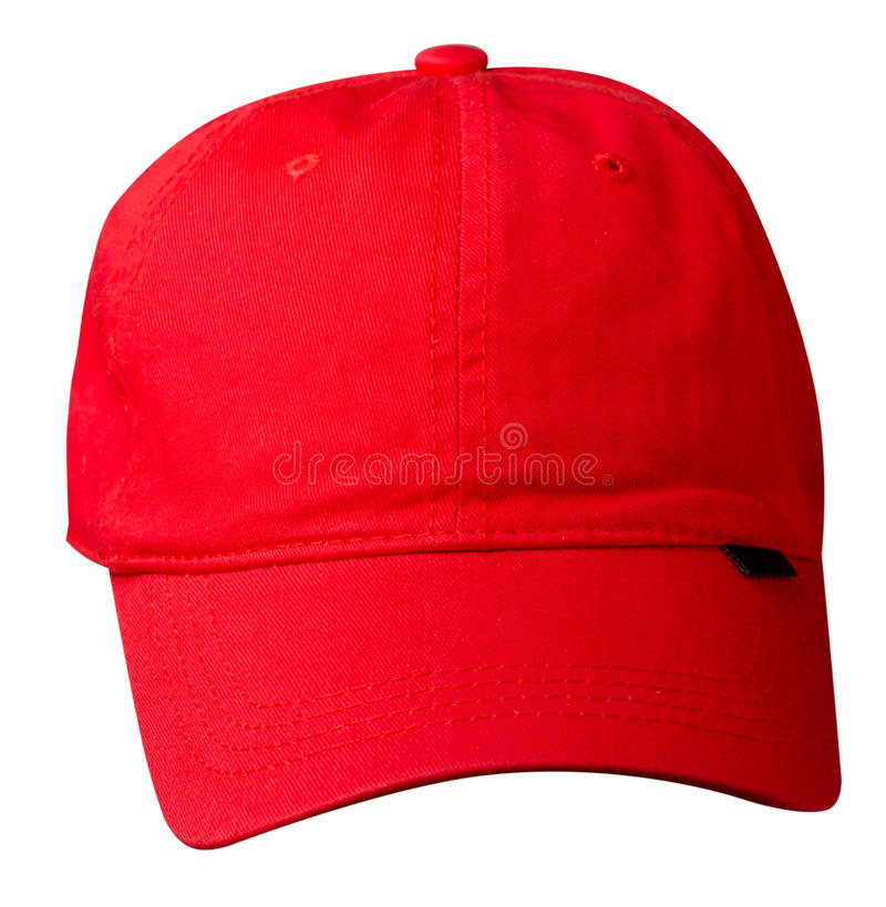 Chapéu isolado no fundo branco Chapéu com uma viseira Chapéu vermelho fotos de stock