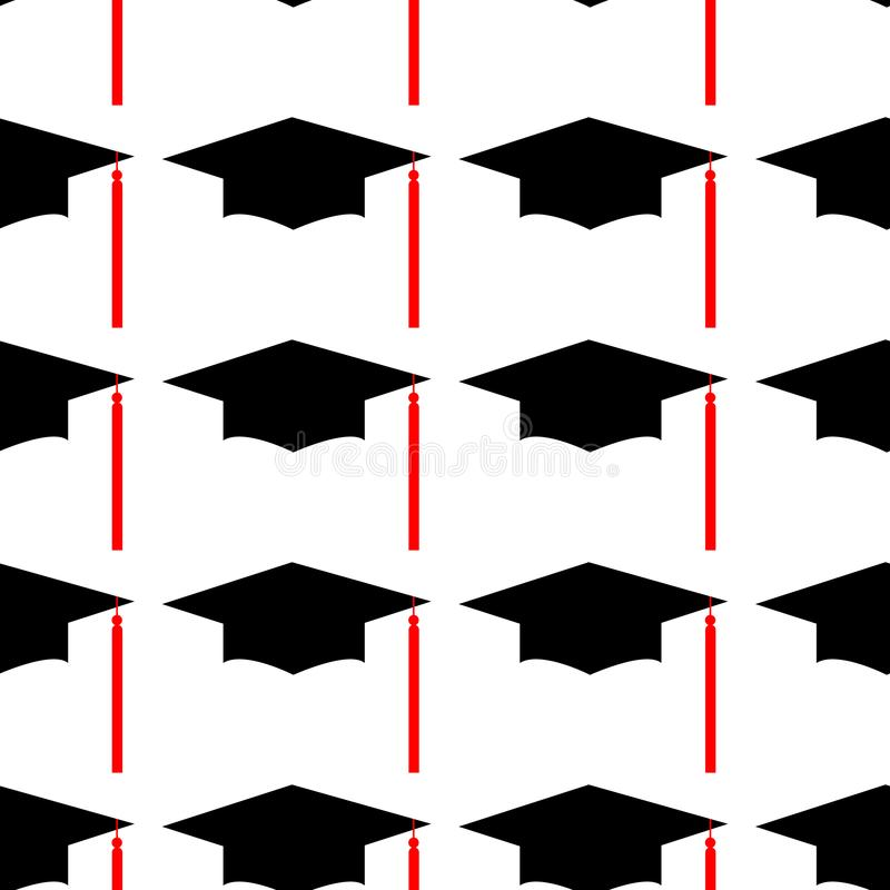 Chapéu Logo Template Design Elements da graduação Ilustração do vetor isolada no fundo branco Teste padrão sem emenda ilustração royalty free