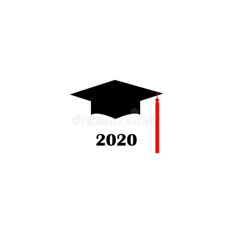 Chapéu Logo Template Design Elements 2020 da graduação Ilustra??o do vetor isolada no fundo branco ilustração do vetor