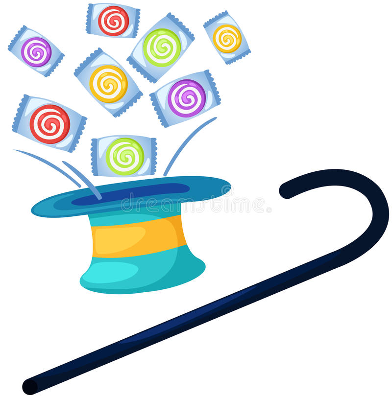 Chapéu mágico com doces ilustração do vetor
