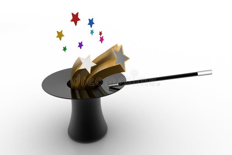 Chapéu mágico com estrelas ilustração stock