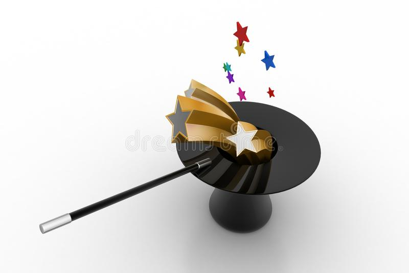 Chapéu mágico com estrelas ilustração do vetor