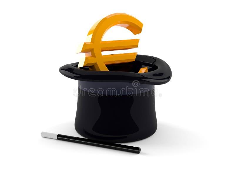 Chapéu mágico com euro- símbolo ilustração royalty free