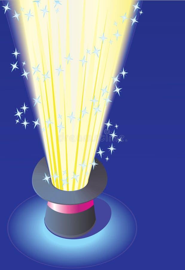 Chapéu mágico com luz ilustração do vetor