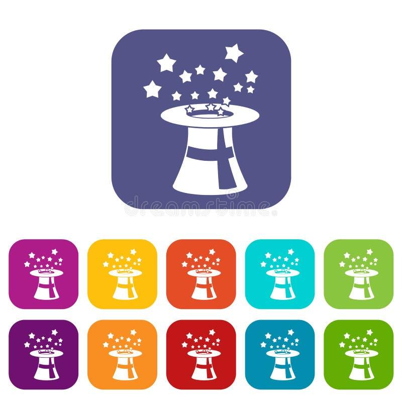 Chapéu mágico com os ícones das estrelas ajustados ilustração royalty free