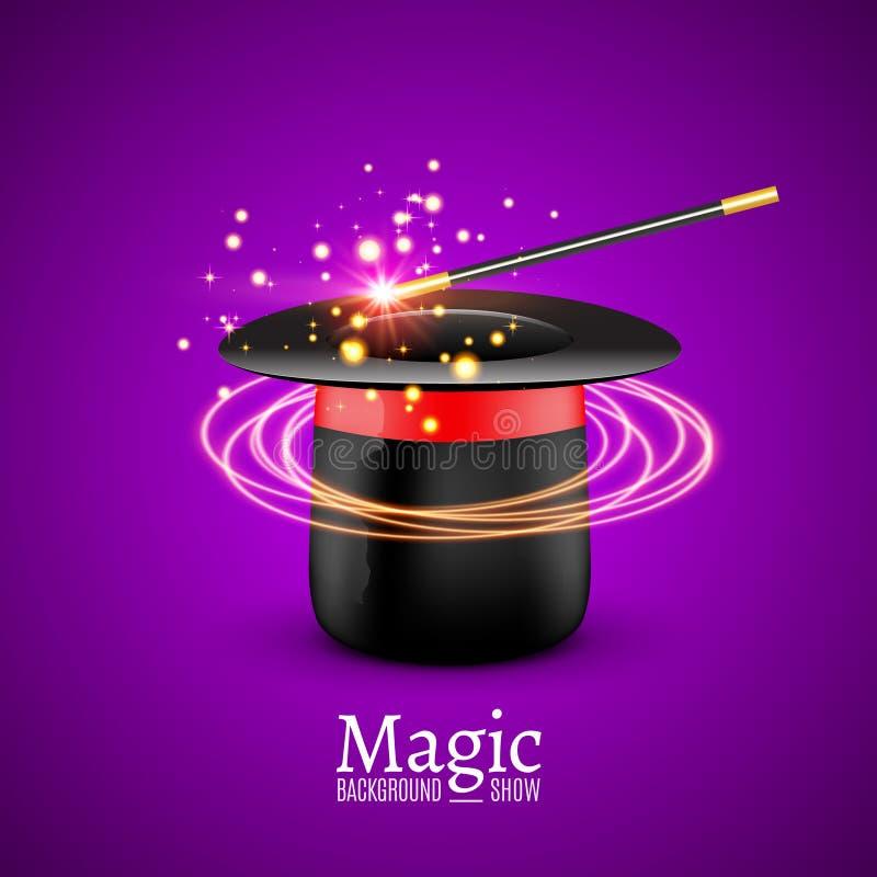 Chapéu mágico com varinha mágica Desempenho do mágico do vetor Fundo da mostra de Wizzard ilustração royalty free