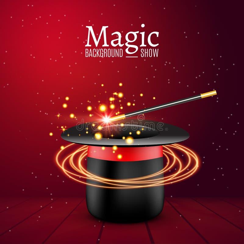 Chapéu mágico com varinha mágica Desempenho do mágico do vetor Fundo da mostra de Wizzard ilustração do vetor