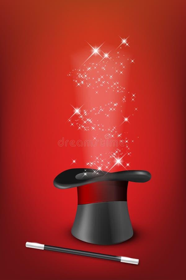 Chapéu mágico lustroso, varinha e estrelas brilhantes ilustração do vetor