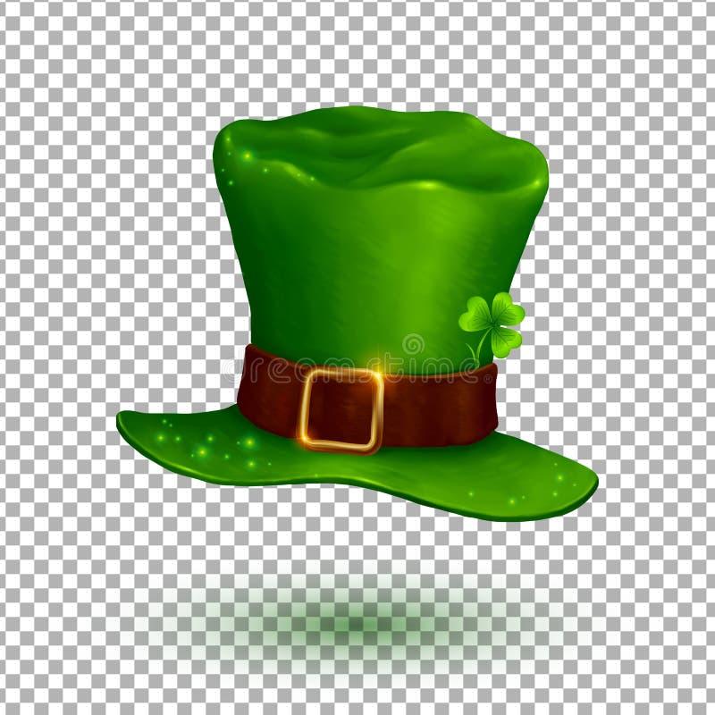 Chapéu macio do duende do vetor verde no estilo dos desenhos animados na grade da transparência ilustração stock