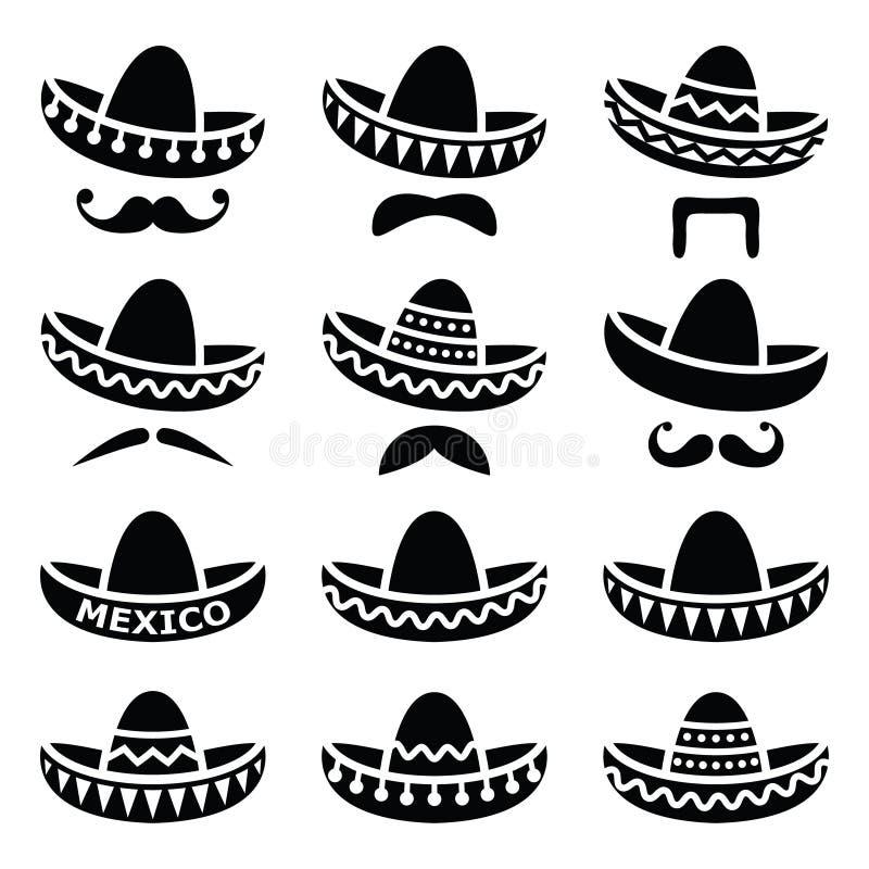 Chapéu mexicano do sombreiro com ícones do bigode ou do bigode