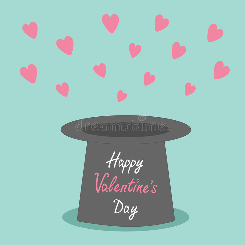 Chapéu negro mágico com voo de corações cor-de-rosa no fundo azul Cartão feliz do dia de Valentim do estilo liso do projeto ilustração royalty free