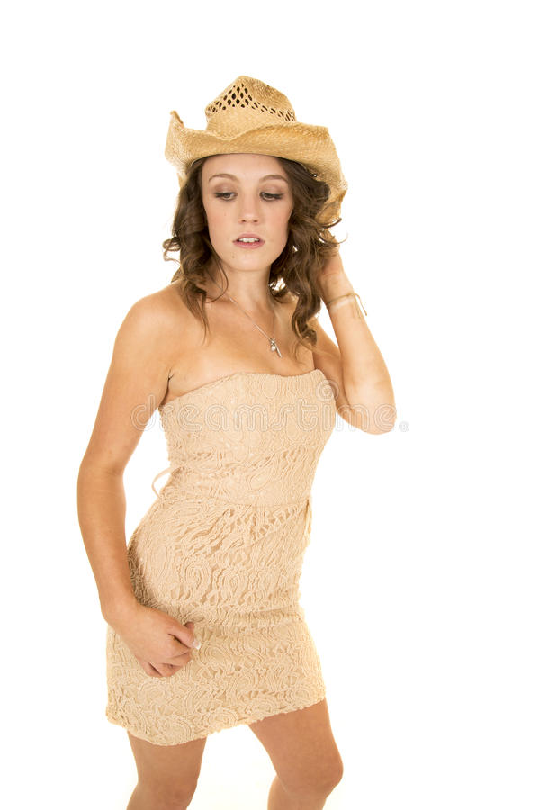 Chapéu ocidental do vestido sem alças bronzeado da mulher sério fotos de stock