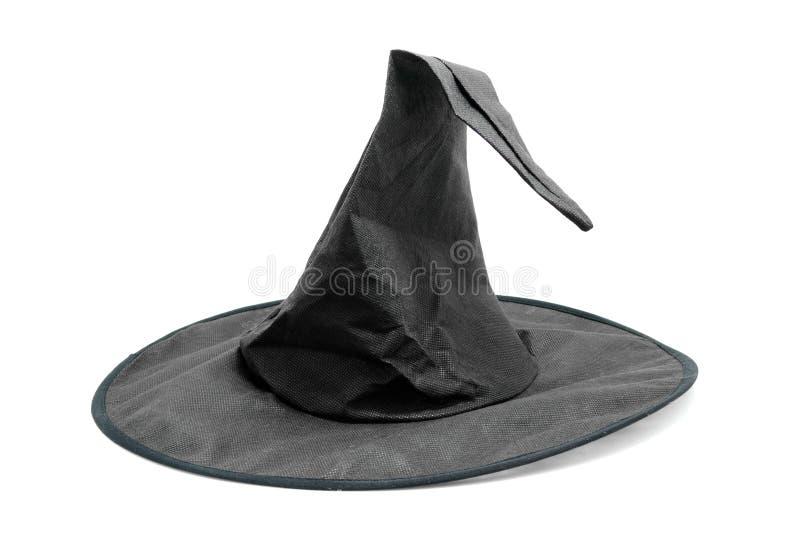 Chapéu preto da bruxa da tela foto de stock