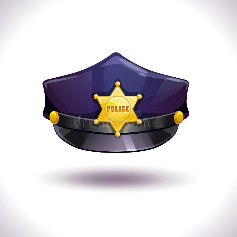 Chapéu preto da polícia do vetor ilustração royalty free