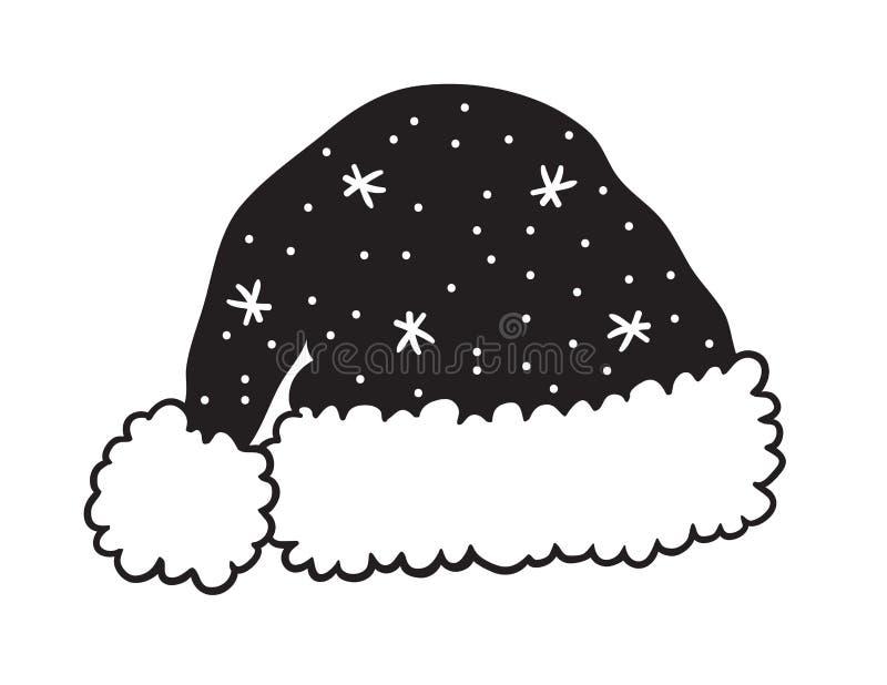 Chapéu preto de Natal desenhado à mão sobre fundo branco Arte de tinta criativa Desenho real do vetor ilustração stock