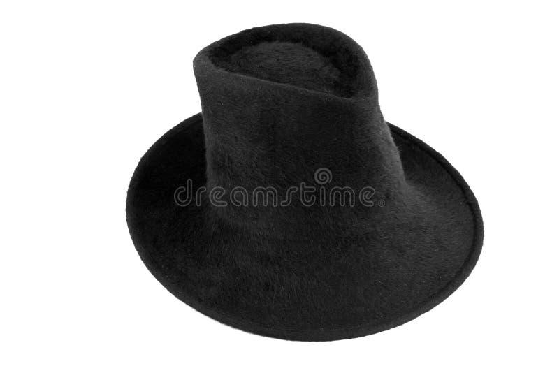 Chapéu preto do revestimento do homem fotografia de stock