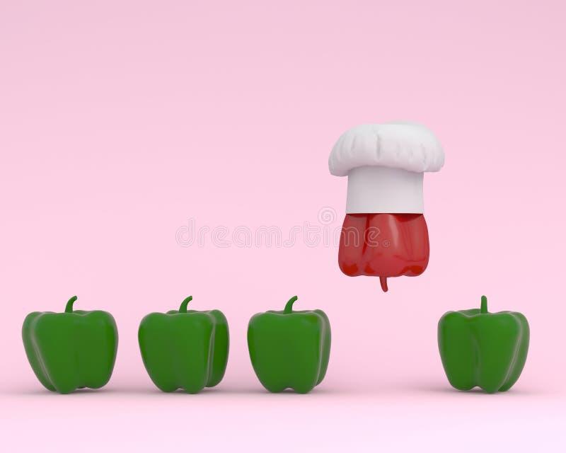 Chapéu proeminente do cozinheiro chefe com a pimenta de sino vermelha que flutua com pimenta de sino verde no fundo do rosa paste fotos de stock