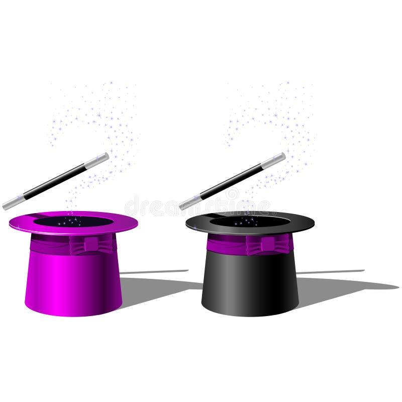 Chapéu superior e varinha da mágica ilustração do vetor