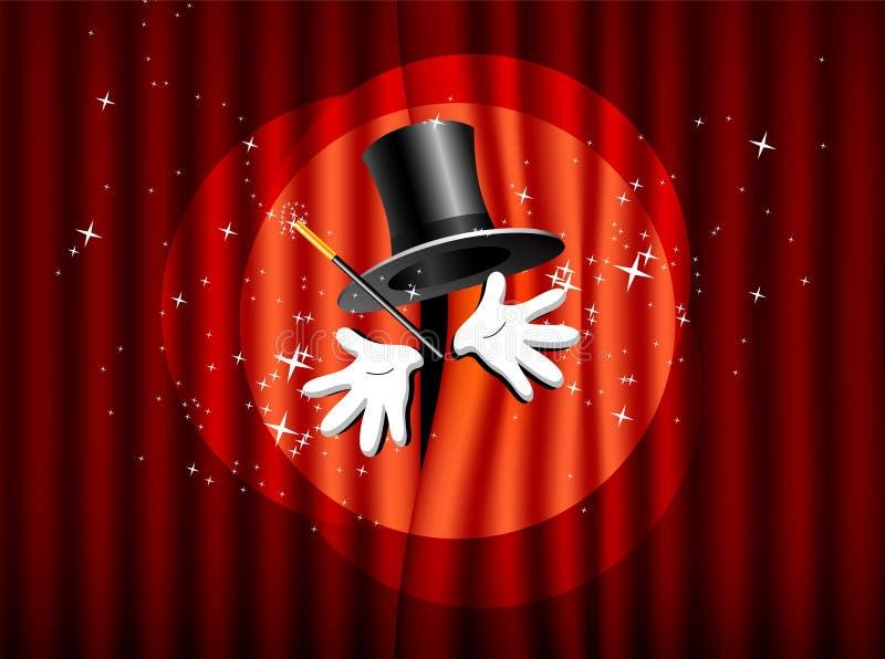 Chapéu superior, varinha mágica e mão ilustração royalty free