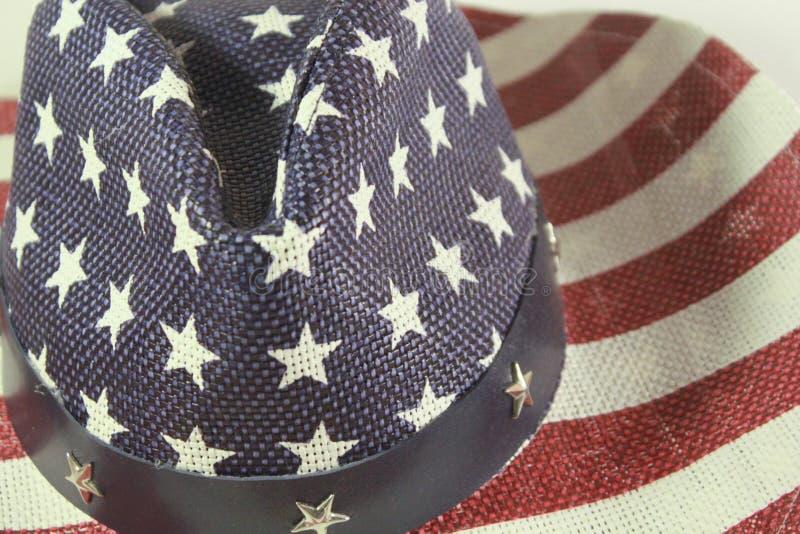 Chapéu tradicional do vaqueiro americano com bandeira foto de stock
