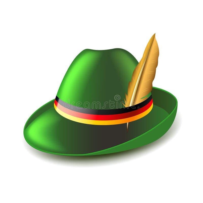 Chapéu verde alemão no vetor branco ilustração royalty free