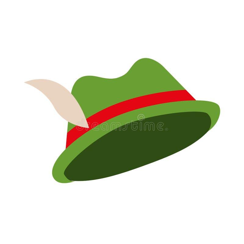 Chapéu verde com pena e fita ilustração do vetor