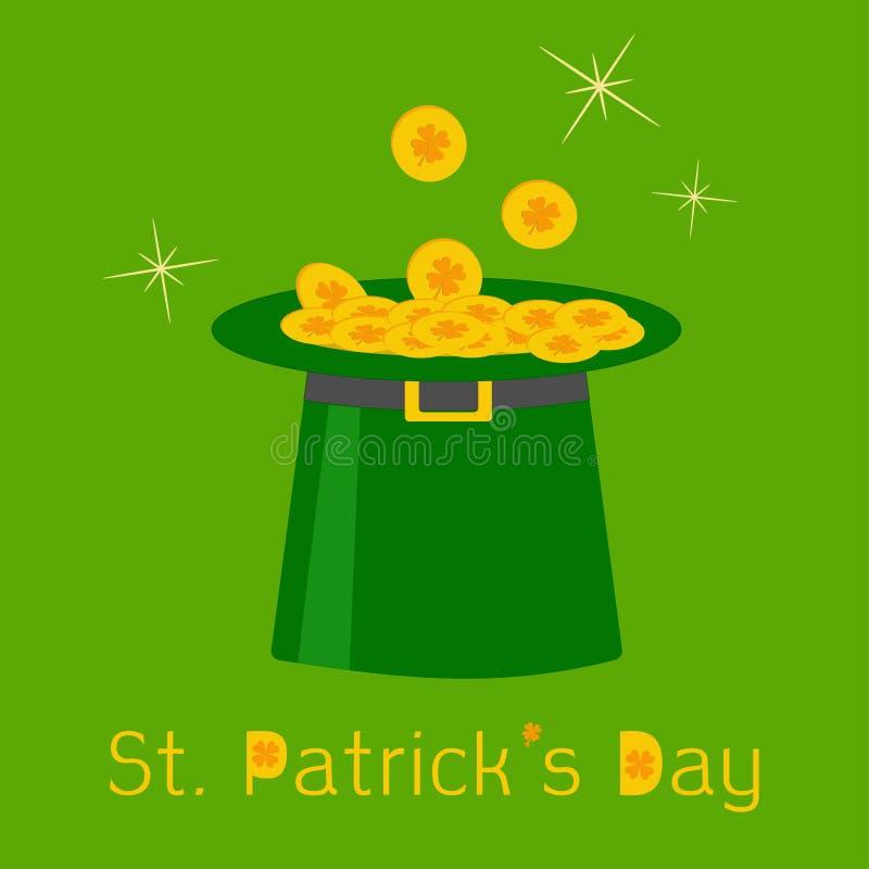 Chapéu verde do duende com as moedas afortunadas do trevo do ouro. St.Pat feliz ilustração royalty free