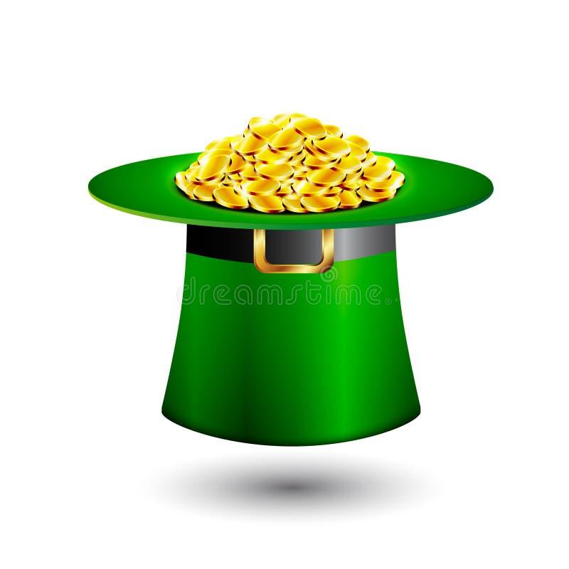 Chapéu verde do tubo do duende completamente de moedas de ouro ilustração do vetor