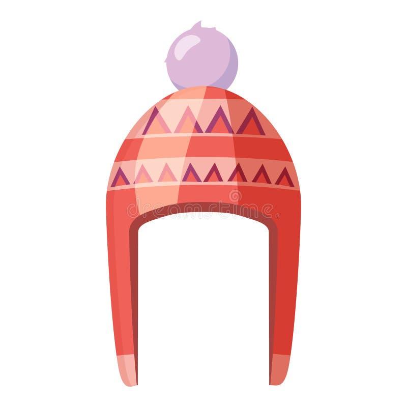 Chapéu vermelho com ícone do pompom, estilo dos desenhos animados ilustração stock